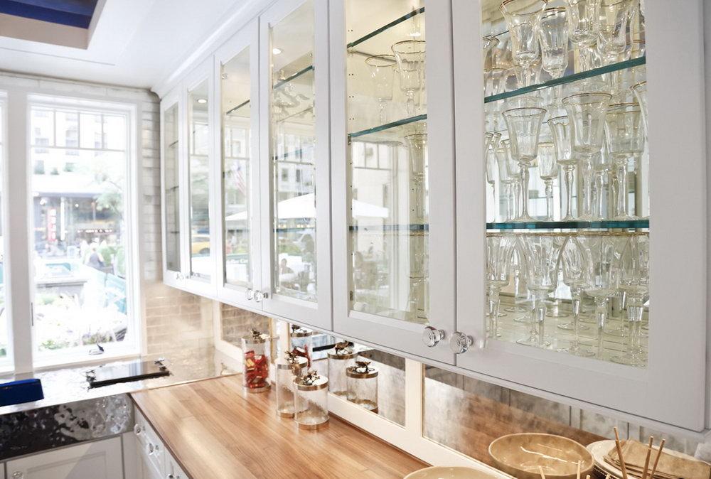White Glass Door Kitchen Cabinets