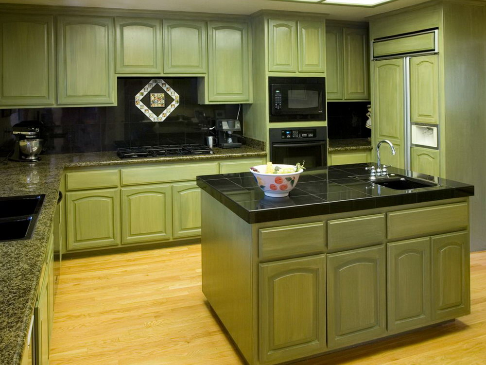 Green Painted Kitchen Cabinets Pictures